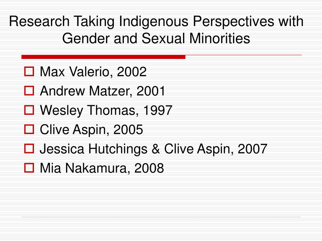 Research Taking Indigenous Perspectives with Gender and Sexual Minorities
