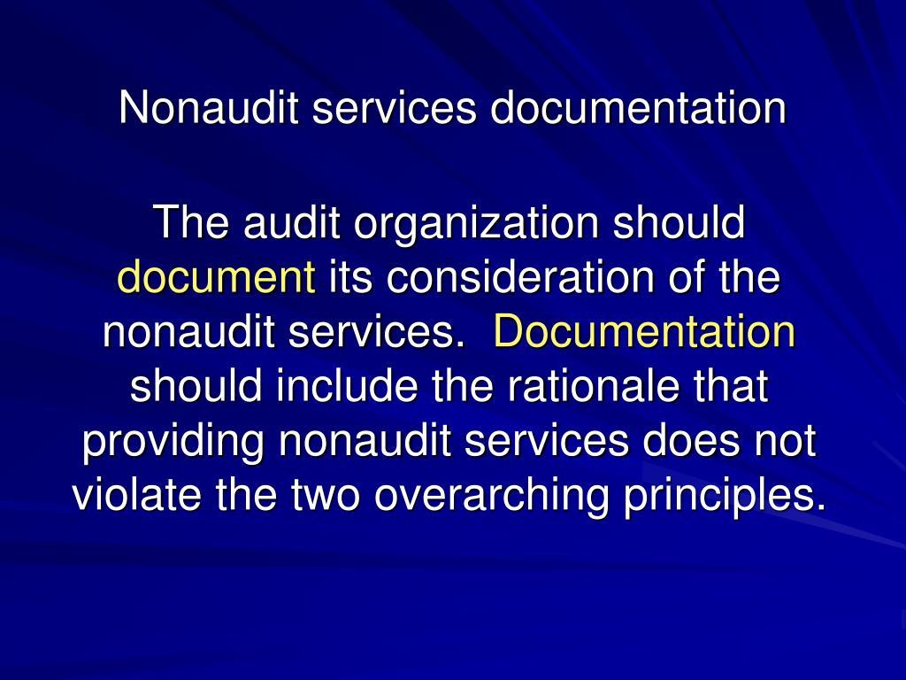 Nonaudit services documentation