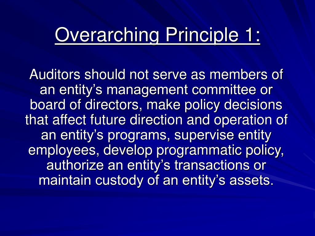 Overarching Principle 1: