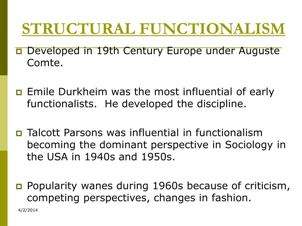 structual funtionallism While largely discredited, structural functionalism was a powerful theory during the late 19th and early 20th centuries in this lesson, we'll.