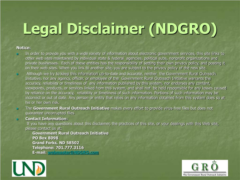 Legal Disclaimer (NDGRO)
