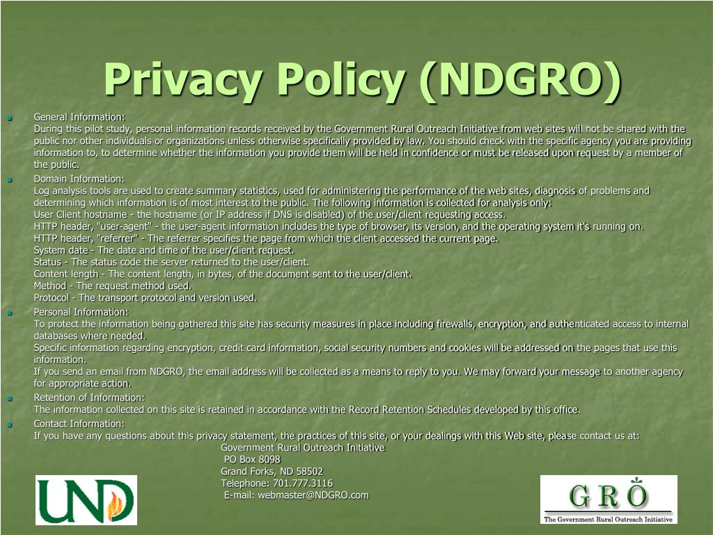 Privacy Policy (NDGRO)