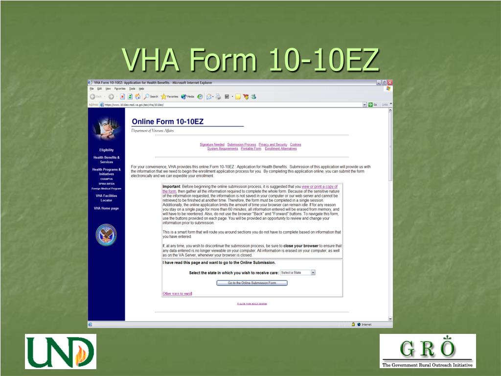 VHA Form 10-10EZ
