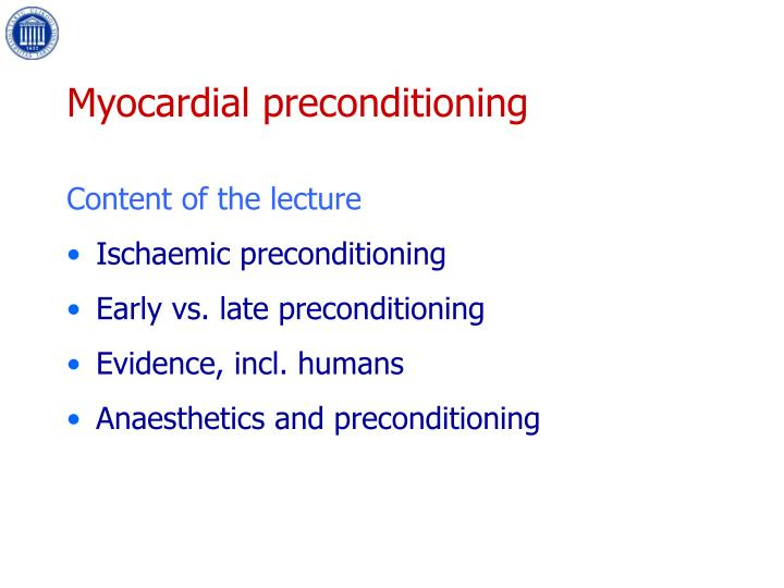 Myocardial preconditioning2