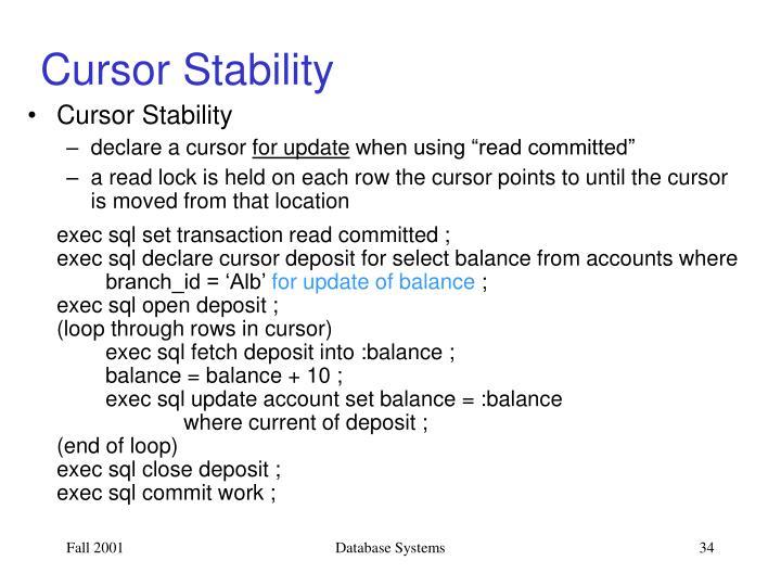 Cursor Stability