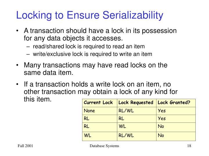 Locking to Ensure Serializability