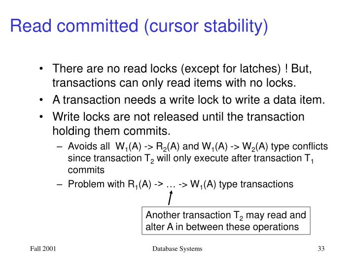 Read committed (cursor stability)