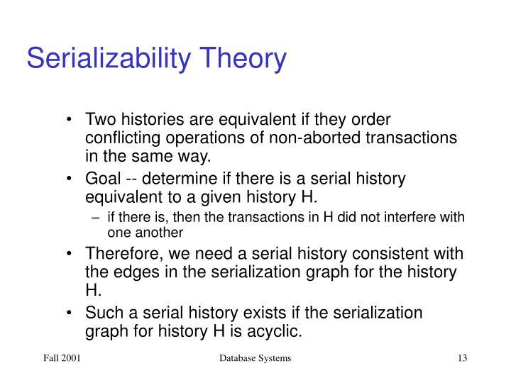 Serializability Theory