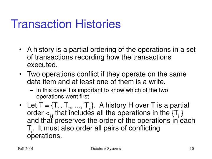 Transaction Histories
