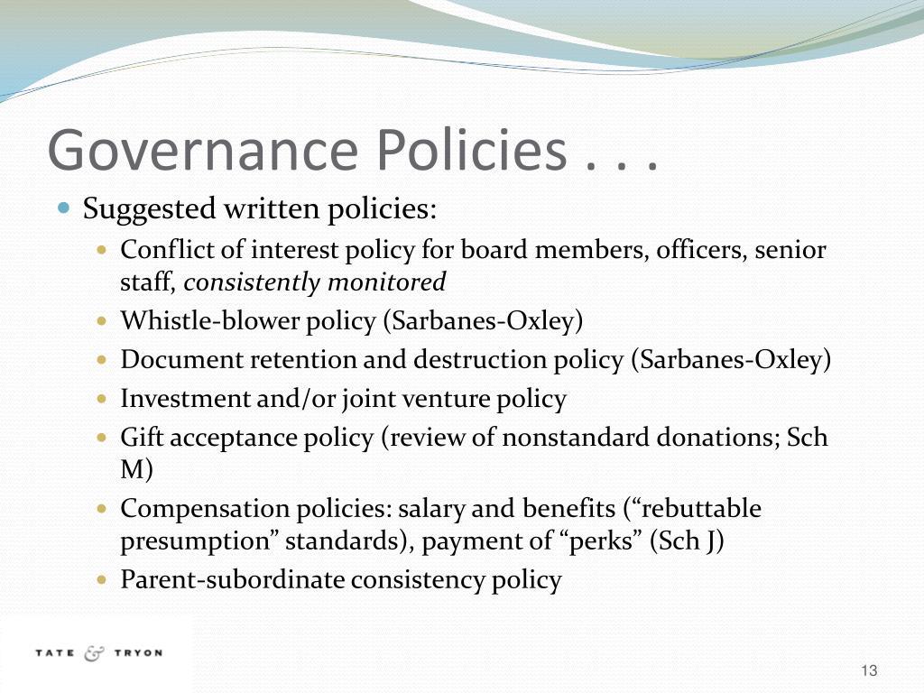 Governance Policies . . .