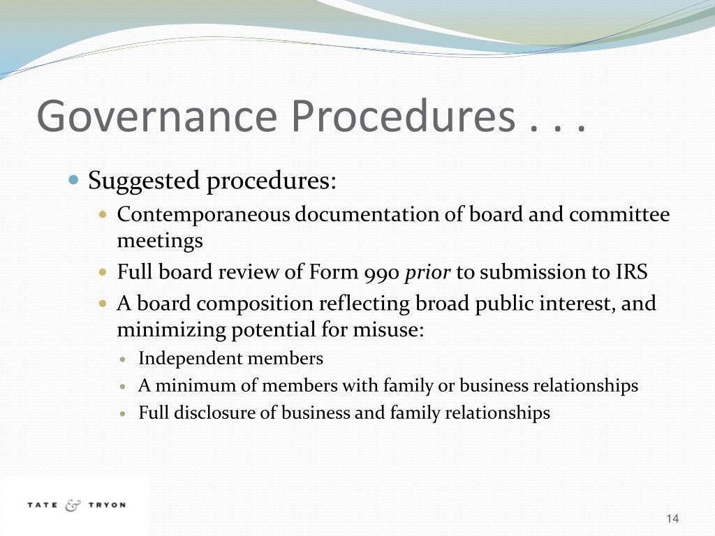 Governance Procedures . . .