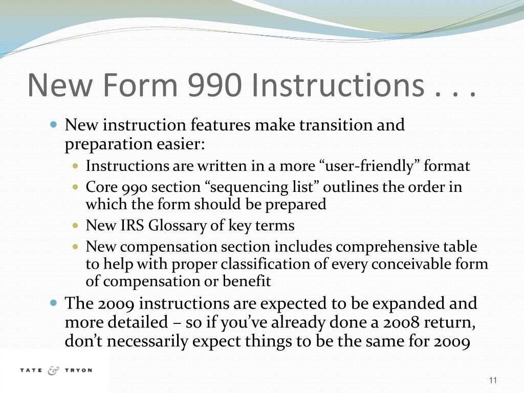 New Form 990 Instructions . . .