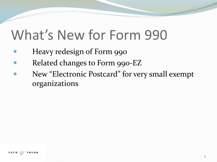 What s new for form 990
