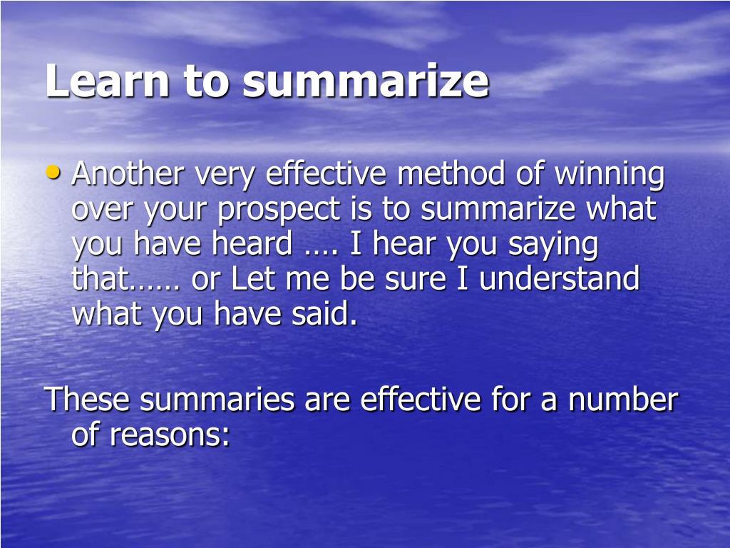 Learn to summarize