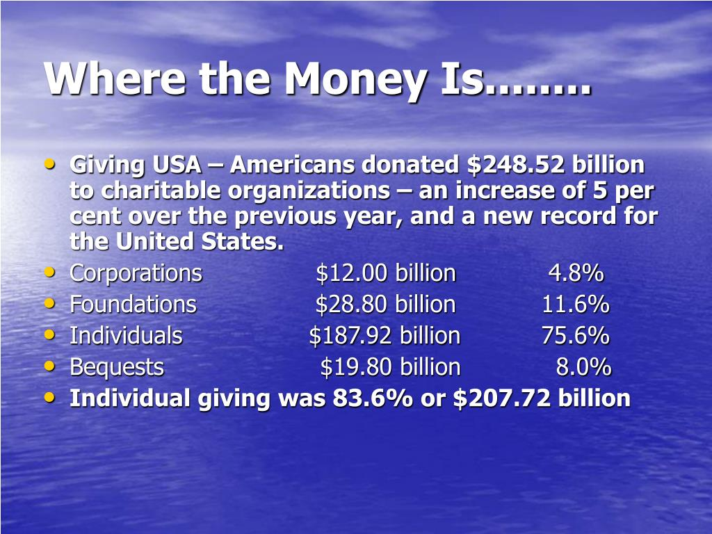 Where the Money Is........