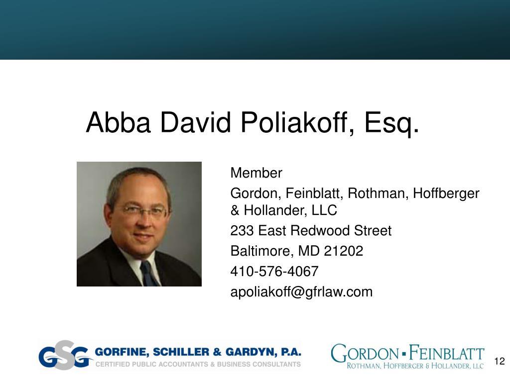 Abba David Poliakoff, Esq.