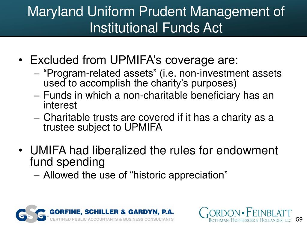 Maryland Uniform Prudent Management of Institutional Funds Act