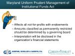 maryland uniform prudent management of institutional funds act70