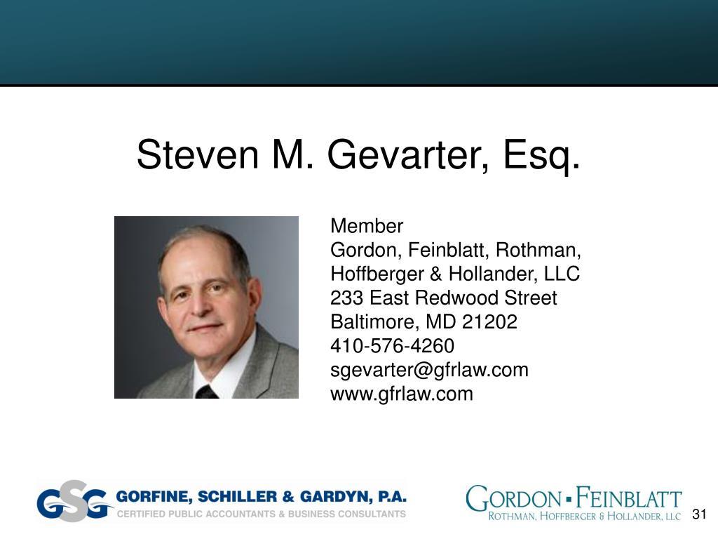 Steven M. Gevarter, Esq.