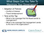 what steps can you take to maximize your governance