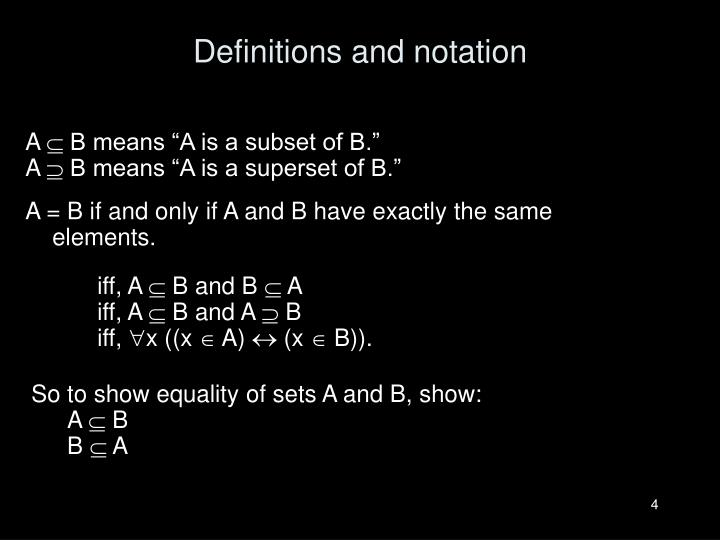 Definitions and notation