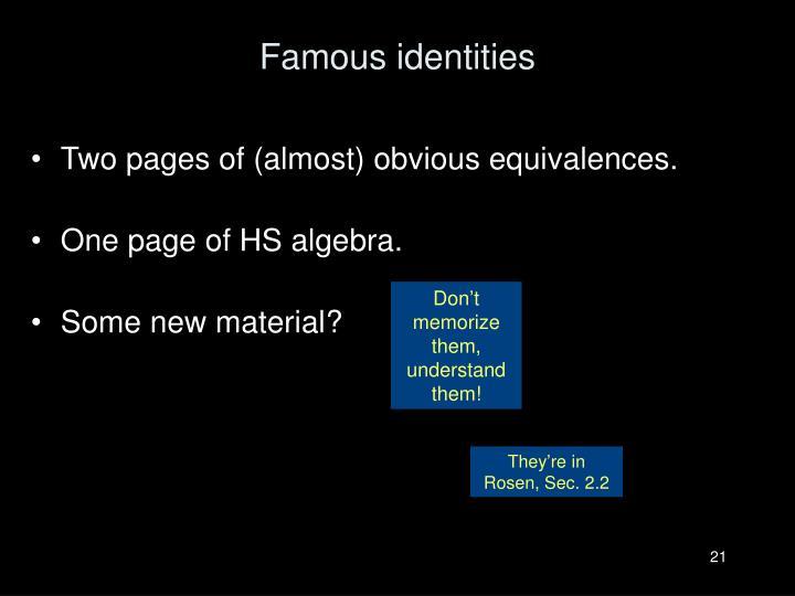 Famous identities