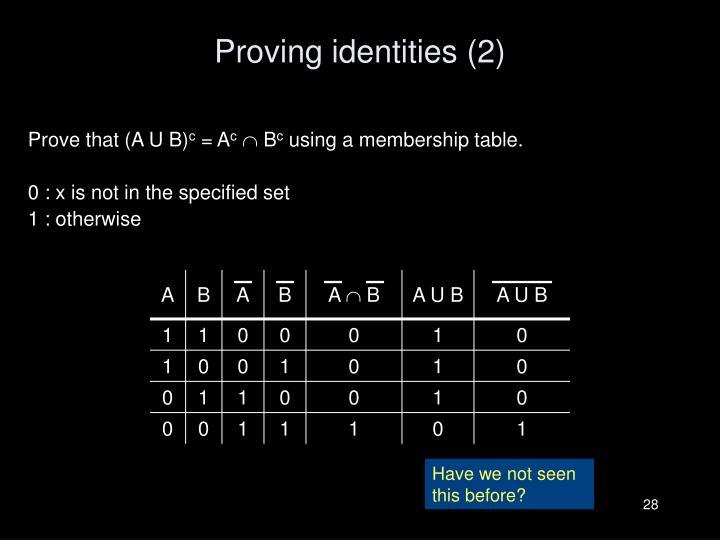 Proving identities (2)