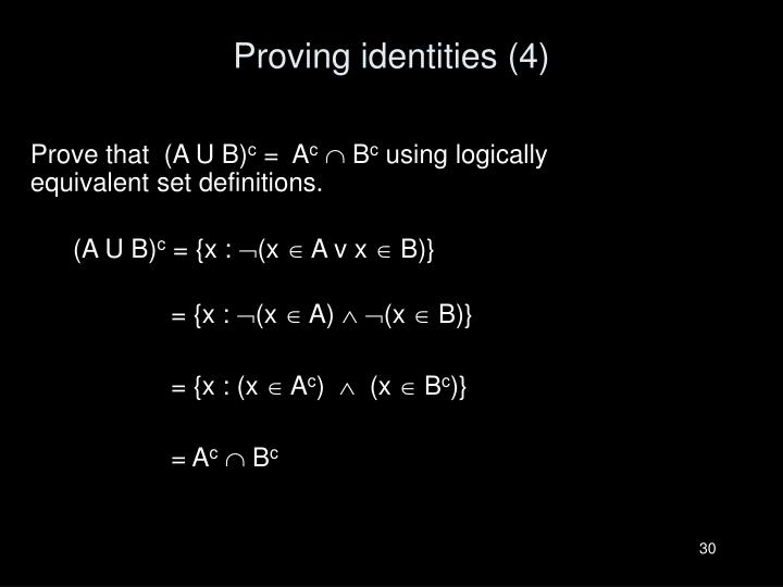 Proving identities (4)