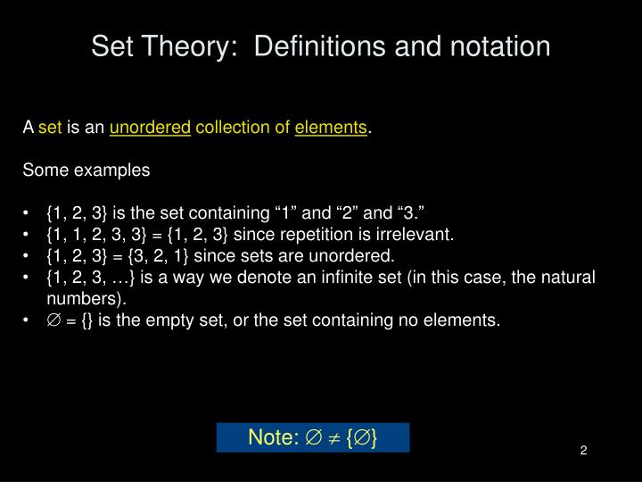 Set theory definitions and notation