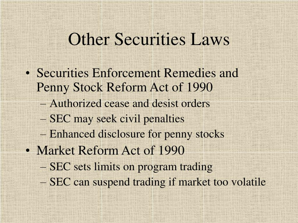 Other Securities Laws