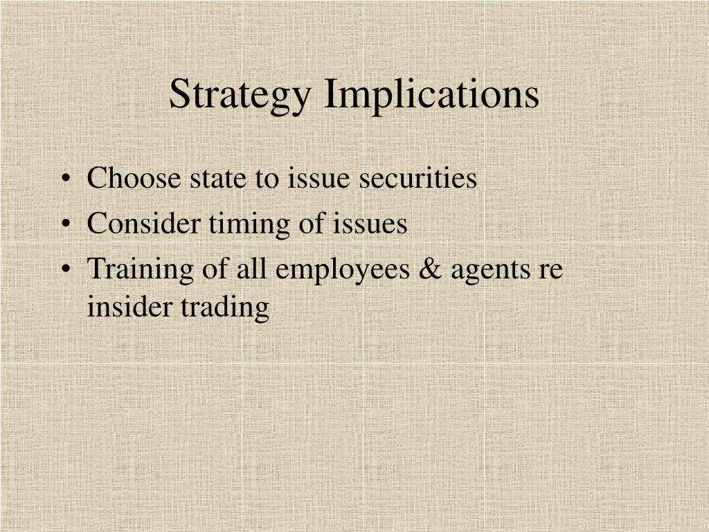 Strategy Implications