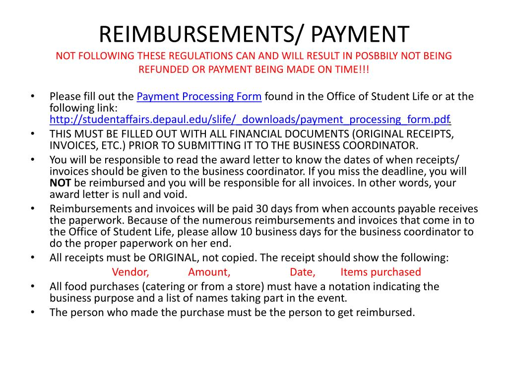 REIMBURSEMENTS/ PAYMENT