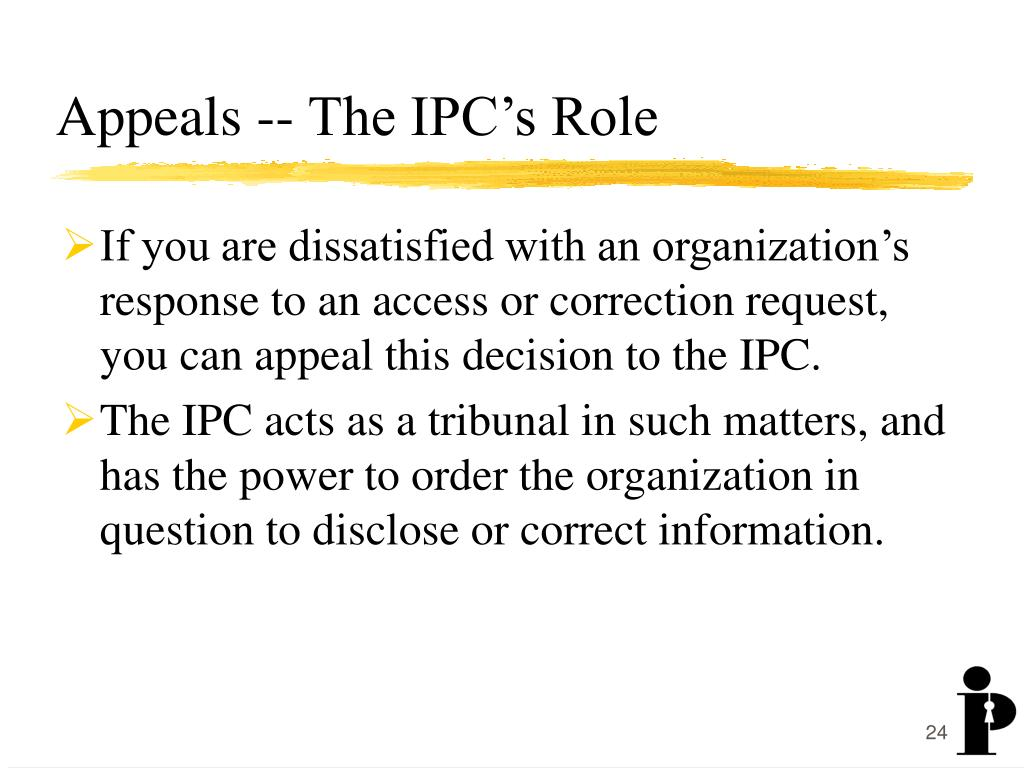 Appeals -- The IPC's Role