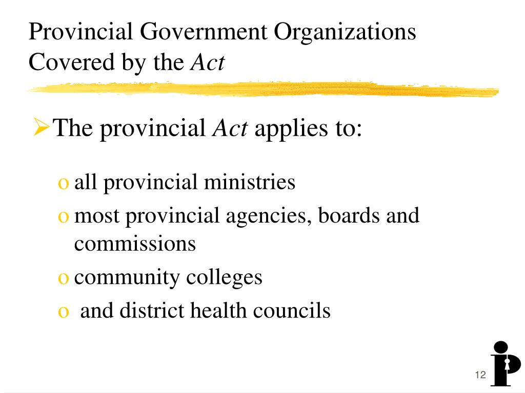 Provincial Government Organizations Covered by the
