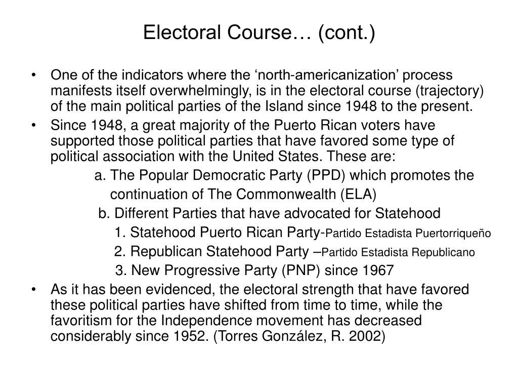 Electoral Course… (cont.)