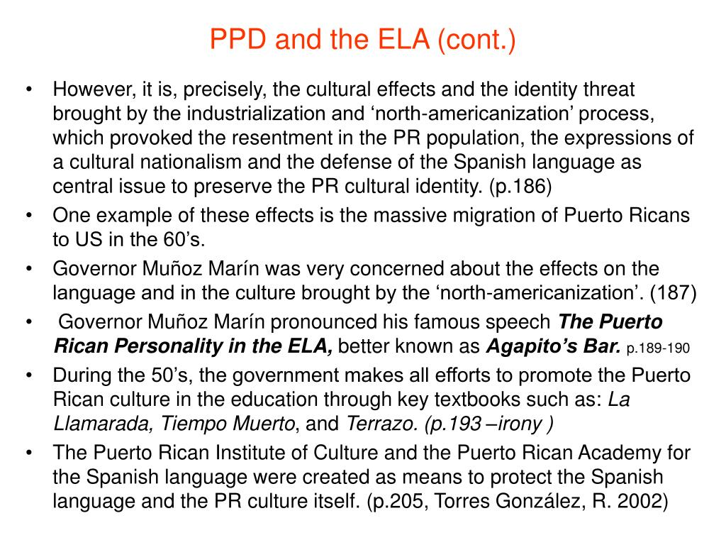 PPD and the ELA (cont.)