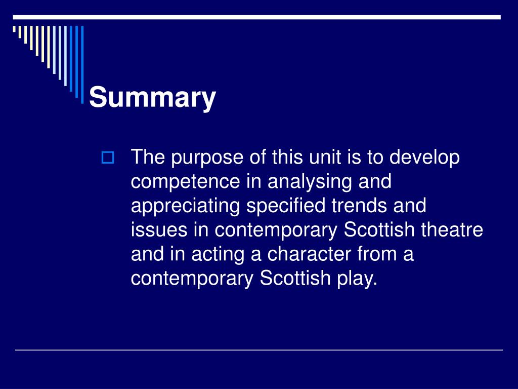 scottish contemporary theatre essay Modern theatre, broadly defined, includes performances of plays and musical theatre there are connections between theatre and the art forms of ballet.