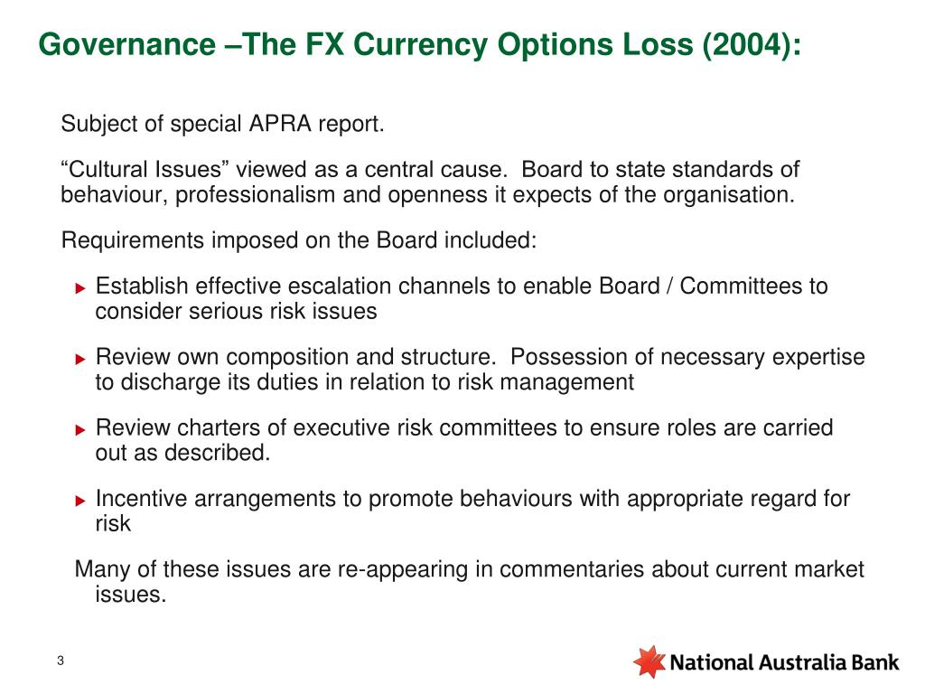 Governance –The FX Currency Options Loss (2004):