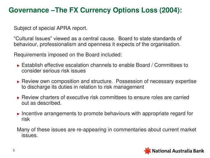 Governance the fx currency options loss 2004