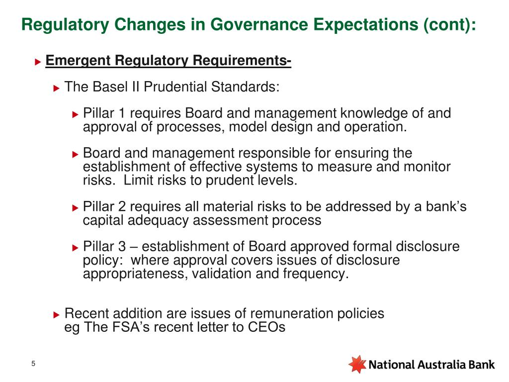 Regulatory Changes in Governance Expectations (cont):