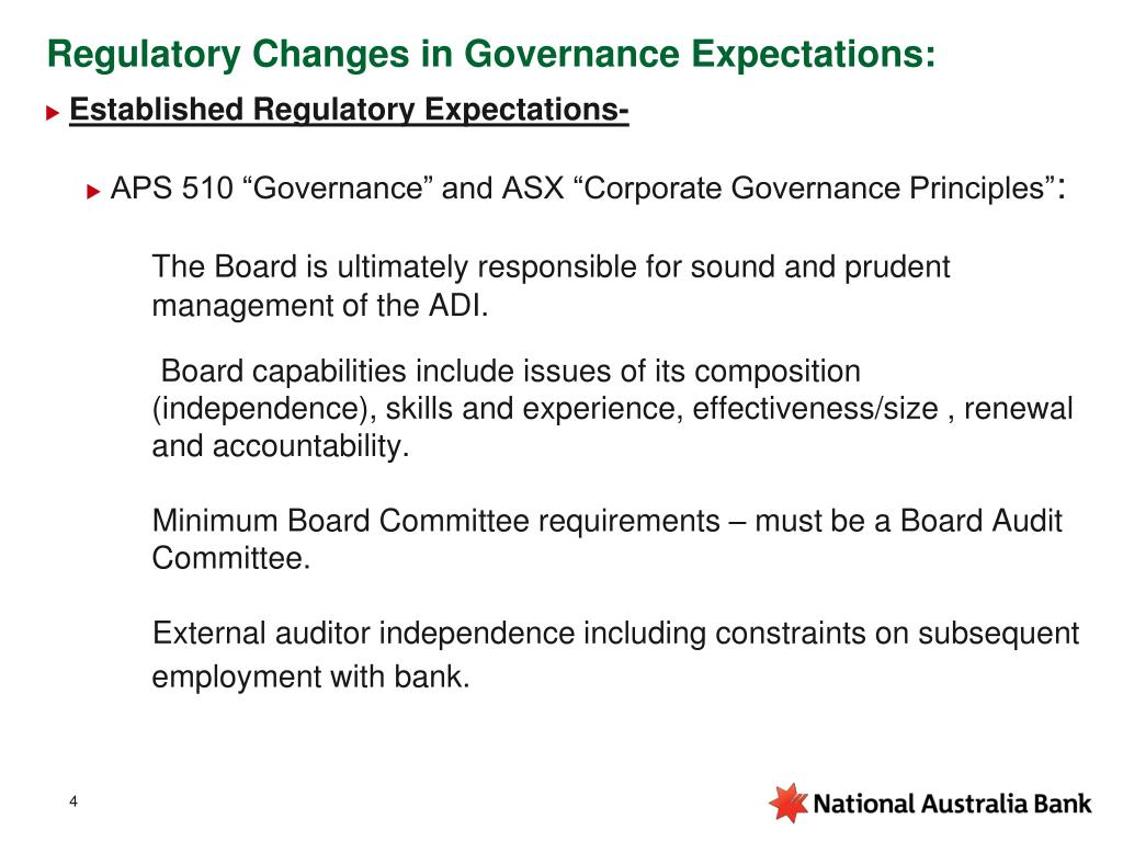 Regulatory Changes in Governance Expectations: