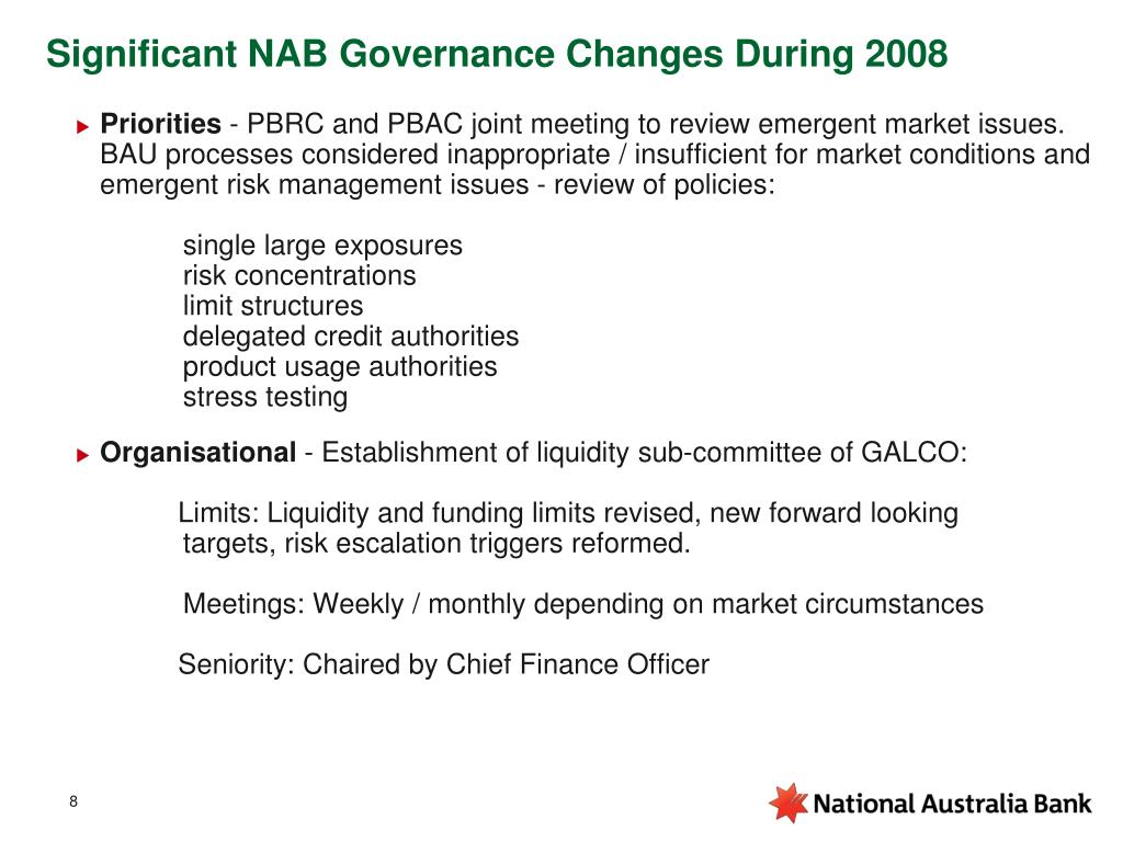Significant NAB Governance Changes During 2008