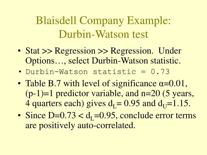Blaisdell Company Example: Durbin-Watson test