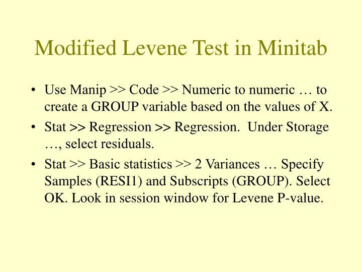 Modified Levene Test in Minitab