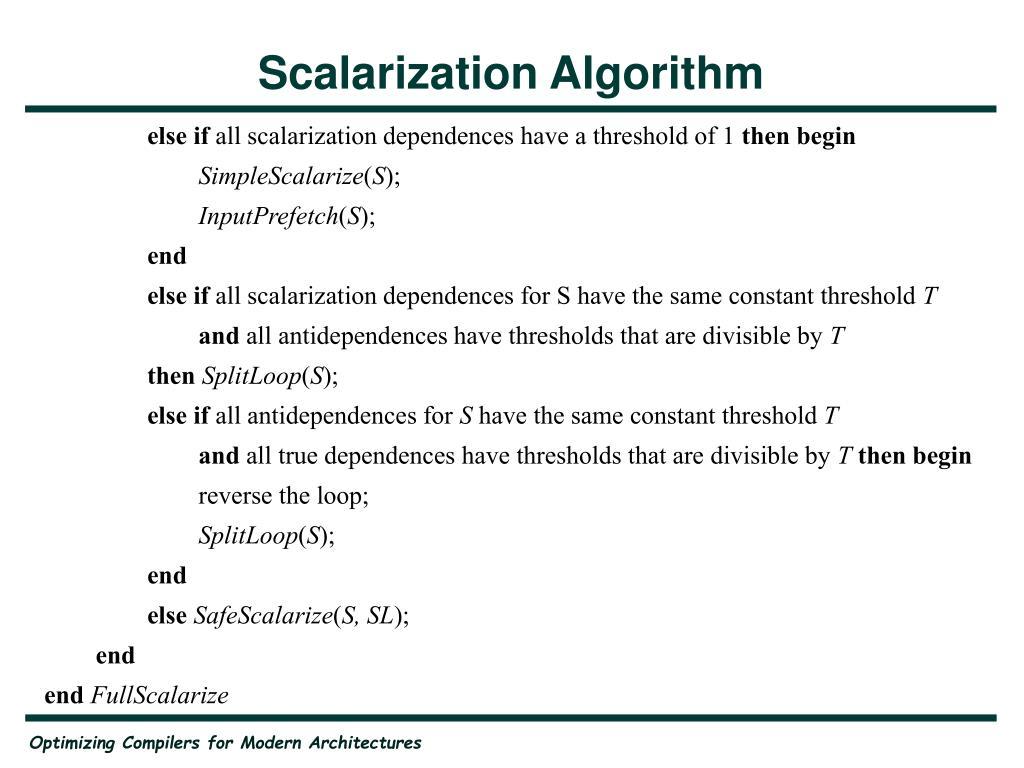 Scalarization Algorithm