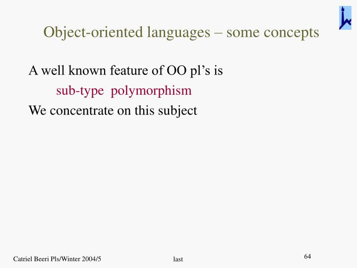 Object-oriented languages – some concepts