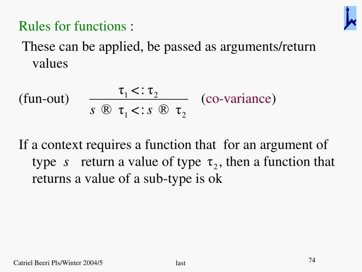 Rules for functions