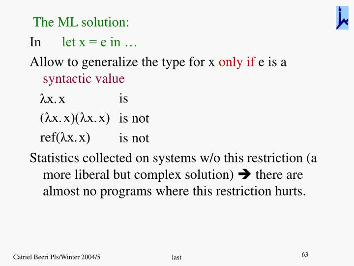 The ML solution: