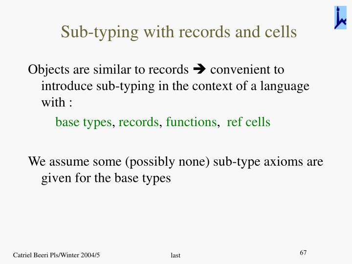 Sub-typing with records and cells
