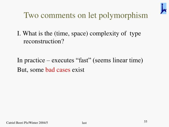 Two comments on let polymorphism